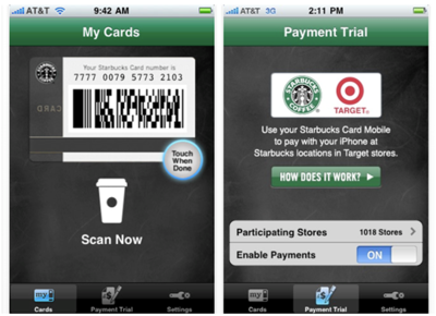 Screenshots of Starbucks Card Mobile Application