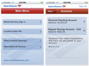 Screenshot of Bank of America's iPhone Application