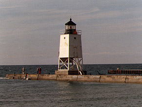 Charlevoix South Pier Light in 1987 - 2nd trip