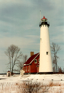 Tawas Point Light in winter of 1993 - 14th trip