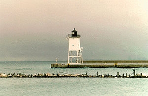 Chicago Harbor Southeast Guidewall Light in 1992 - 13th trip